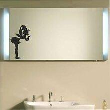 malango® Spiegelaufkleber Elfe Aufkleber Spiegel Bad Badezimmer Feen Fee Kinder ca. 30 x 18 cm hellgrau hellgrau ca. 30 x 18 cm