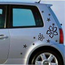 malango® Sterne Blumen Aufkleber Auto Autoaufkleber Styling Tuning Szene Design Flower Stars Siehe Beschreibung lichtblau lichtblau Siehe Beschreibung