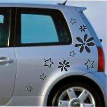 malango® Sterne Blumen Aufkleber Auto Autoaufkleber Tuning Szene Design Styling Flower Stars Siehe Beschreibung lichtblau lichtblau Siehe Beschreibung