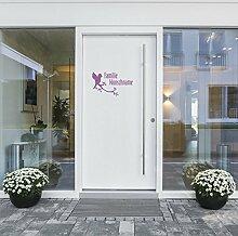 malango® Tür-und Briefkastenaufkleber mit Wunschname der Familie erhältlich in versch. Faben & Größen 25 x 15 cm pink