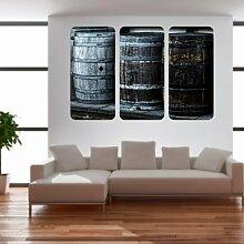 malango® Vintage Whiskyfässer Triptychon Wandtattoo Tattoo Auto Dekoration Styling Design Aufkleber Fass Whiskey 100 x 153 cm digitalgedruckt digitalgedruckt 100 x 153 cm