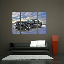 malango® Wandbild Mustang im Schnee Triptychon Aufkleber Wandtattoo Tattoo Auto Dekoration Styling Design 80 x 122 cm digitalgedruckt digitalgedruckt 80 x 122 cm