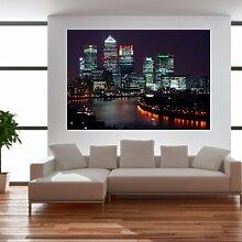 malango® Wandbild Skyline bei Nacht Aufkleber Wandtattoo Wandaufkleber Design Styling 40 x 61 cm digitalgedruckt digitalgedruckt 40 x 61 cm