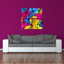 malango® Wandbild Wunderschöne Blümchen 4-teilig Aufkleber Dekoration Wandaufkleber Bild Design Styling 40 x 40 cm digitalgedruckt digitalgedruckt 40 x 40 cm