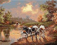 Malen Nach Zahlen Kühe im Sonnenuntergang Malen