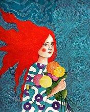 Malen nach Zahlen Mädchen Handfarbe Kit Leinwand