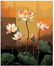 Malen Nach Zahlen Pink Lotus Blumen Malen Zeichnen