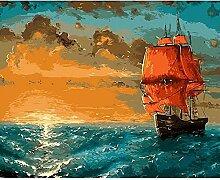 Malen Nach Zahlen Rotes Segelboot bei