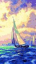 Malen Nach Zahlen Segelboot auf dem Meer bei