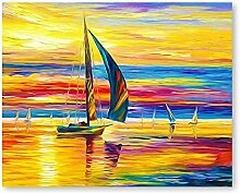 Malen Nach Zahlen Segeln bei Sonnenuntergang Malen