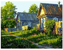 Malen Nach Zahlen Sonnenuntergang Dorf Malen Nach