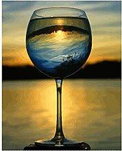 Malen Nach Zahlen Sonnenuntergang im Glas Malen