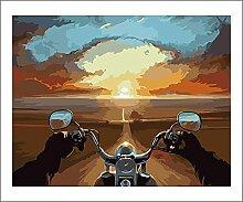 Malen Nach Zahlen Sonnenuntergang Motorrad Malen