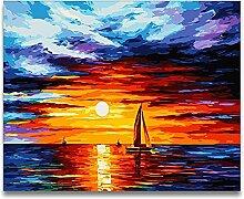 Malen Nach Zahlen Sonnenuntergang segeln Malen