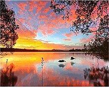 Malen Nach Zahlen Sonnenuntergang über dem See