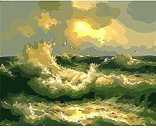 Malen Nach Zahlen Sonnenuntergang Wellen Malen