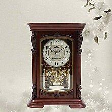 MAlex Kaminuhren,Retro-Luxus solide Holz Uhr