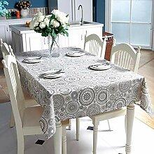 MAlex Tischdecke Polyester Baumwolle Circle Blue