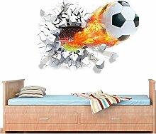 Malilove 3D-Feuern Fußball Wand Aufkleber Für