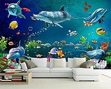 Malilove Kinderzimmer Dekoration Wallpaper 3D Unterwasser Welt, Delphin Custom 3D Fototapete400X280Cm