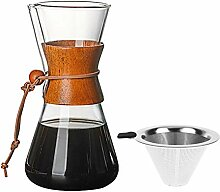 Maliyaw Kaffeemaschine Tasse Glas Hand Kaffeekanne