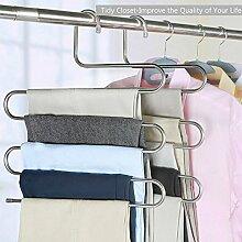 Mallcover 4 teilige Edelstahl Kleiderbügel mehrfach Hosenbügel Platzsparend kleiderbügel Hosenbügel Hosen Lagerung Vervollkommnen Sie für hängende Tücher, Schal, Jeans, Hose, Bindung