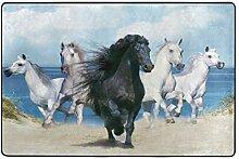 Malplee Teppich, schwarzes Pferd und vier weiße