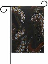 MALPLENA Art Octopus Loch Print Flagge Garten