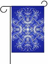 MALPLENA Blaue europäische Muster-Flagge Garten