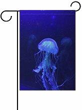 MALPLENA Blaue Hell Quallen Flagge Garten Premium