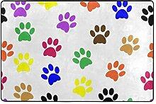MALPLENA Bunte Hundepfoten Teppich für Wohnzimmer
