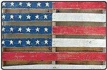 Malplena Fußmatte mit USA-Flagge, rutschfest,