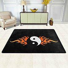 MALPLENA Malpela Yin Yang Flammen-Teppiche für