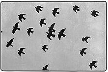 MALPLENA Teppich mit Vogelmotiv und Fliegender