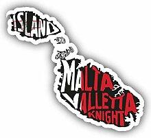 Malta Map Flag Slogan - Self-Adhesive Sticker Car