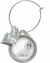 Malteser Hund Bild Design Weinglas Anhänger mit schicker Perlen