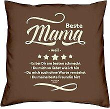 Mama Polster-Deko-Stuhl-Kissen mt Füllung Gratis Urkunde Beste Mama weil Geschenkset Geburtstag Vatertag Weihnachten Farbe:braun