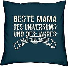 Mama Polster-Deko-Stuhl-Kissen mt Füllung Gratis Urkunde Beste Mama des Universums Geschenkset Geburtstag Vatertag Weihnachten Farbe:navy-blau