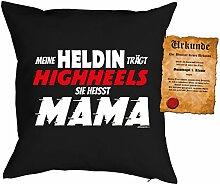 Mama Sprüche Kissen Kuschelkissen - Mütter Sprüche Kissen : trägt Highheels ... Mama -- Kissen mit Füllung + Urkunde - Farbe: schwarz