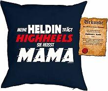 Mama Sprüche Kissen Kuschelkissen - Mütter Sprüche Kissen : trägt Highheels ... Mama -- Kissen ohne Füllung + Urkunde - Farbe: navyblau