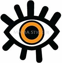 MAMA STICKER Bumper Vinyl Orange Evil Eye Ball