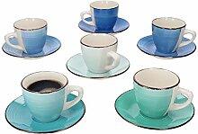 MamboCat 12tlg Kaffee-Geschirr-Set Blue-Curacao I