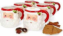 MamboCat 6er Set Kaffeebecher Santa I 480 ml I