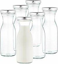 MamboCat 6er Set Milchflaschen 250 ml + Twist-Off