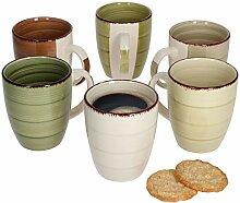 MamboCat 6er Set Nature Kaffeebecher Landhausstil