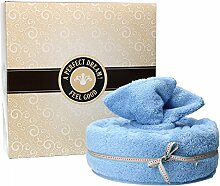MamboCat Handtuchtorte 4-tlg. Set: Badetuch + Handtuch + 2 Waschlappen im Tortenkarton, kuschlig-weich, Geschenkidee, Farbe:hellblau