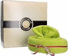 Mambocat Handtuchtorte 4-tlg. Set: Badetuch + Handtuch + 2 Waschlappen im Tortenkarton, kuschlig-weich, Geschenkidee, Farbe:grün