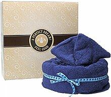 Mambocat Handtuchtorte 4-tlg. Set: Badetuch + Handtuch + 2 Waschlappen im Tortenkarton, kuschlig-weich, Geschenkidee, Farbe:dunkelblau