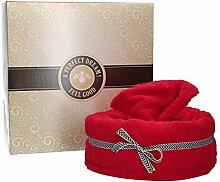 Mambocat Handtuchtorte 4-tlg. Set: Badetuch + Handtuch + 2 Waschlappen im Tortenkarton, kuschlig-weich, Geschenkidee, Farbe:ro