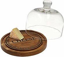 MamboCat Käseglocke Glas & Holzbrett mit